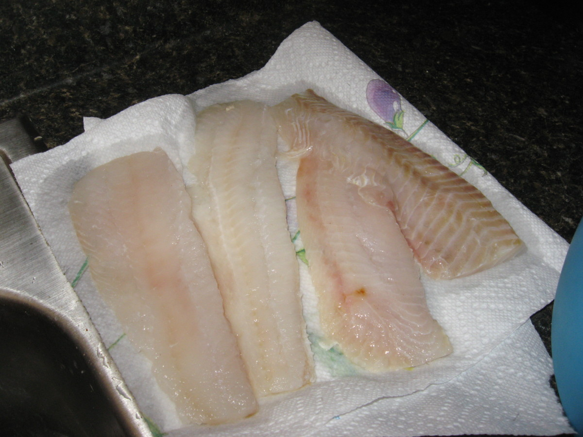 Dry fillets on paper towels