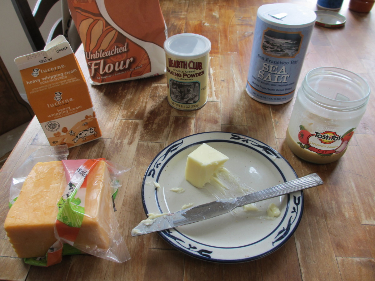 Ingredients you'll need. I was all out of buttermilk here, so I substituted heavy cream, but picking some up is well worth it.