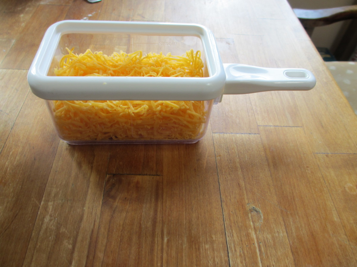 Grate about a cup of your favorite cheese.
