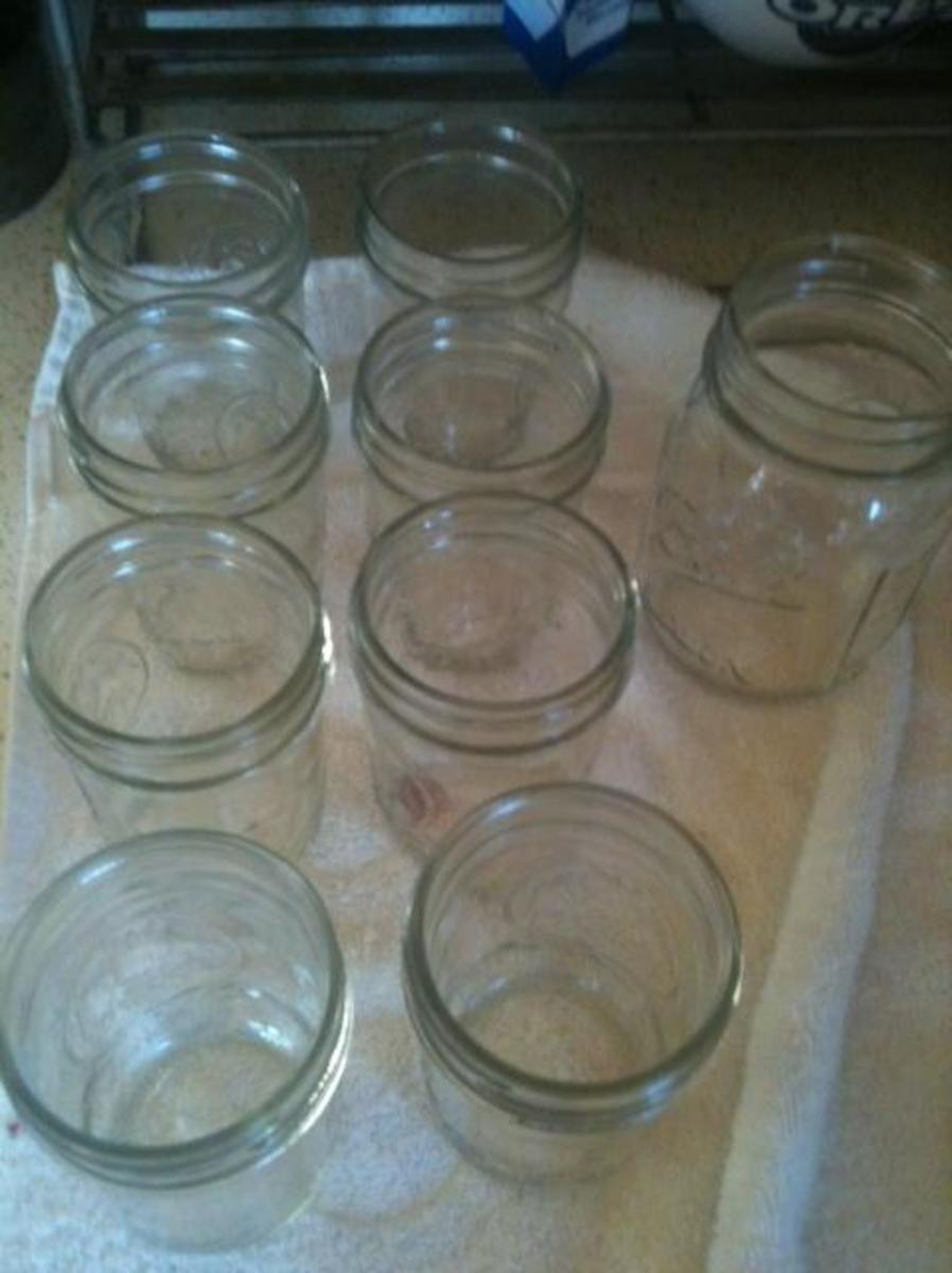 """Sterilized jars ready to be filled.  Fill each jar until it is 1/4"""" from the top."""
