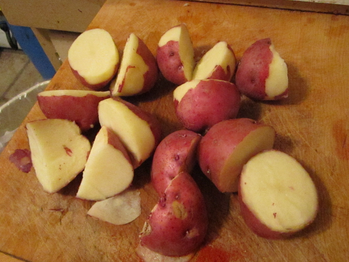I cut the Potatoes to spread them out. Less is More!