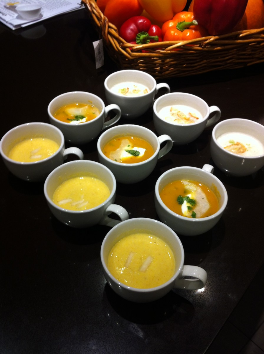 Some of the delicious soups made during the Cuisinart Soup Challenge, ready for the judges.