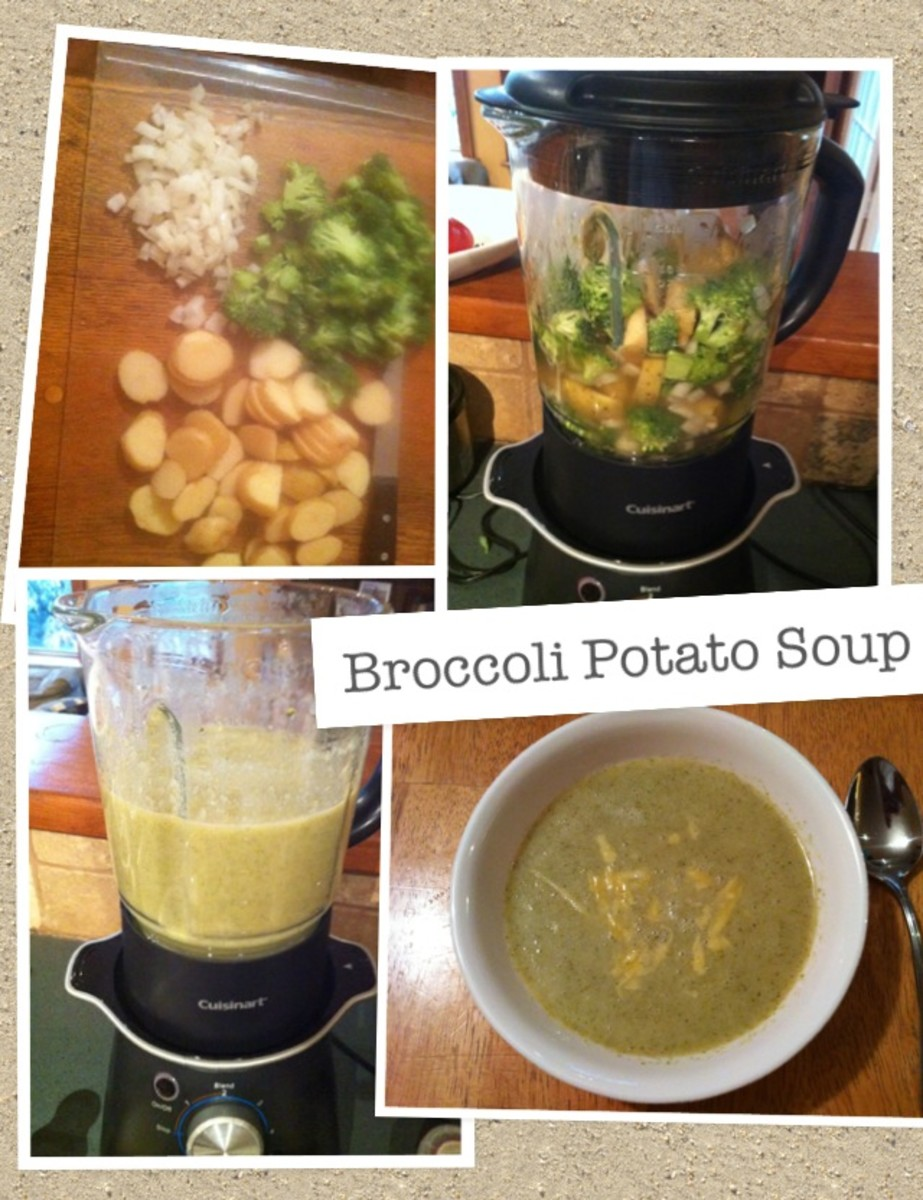 Making healthy broccoli and potato soup in the soup maker.