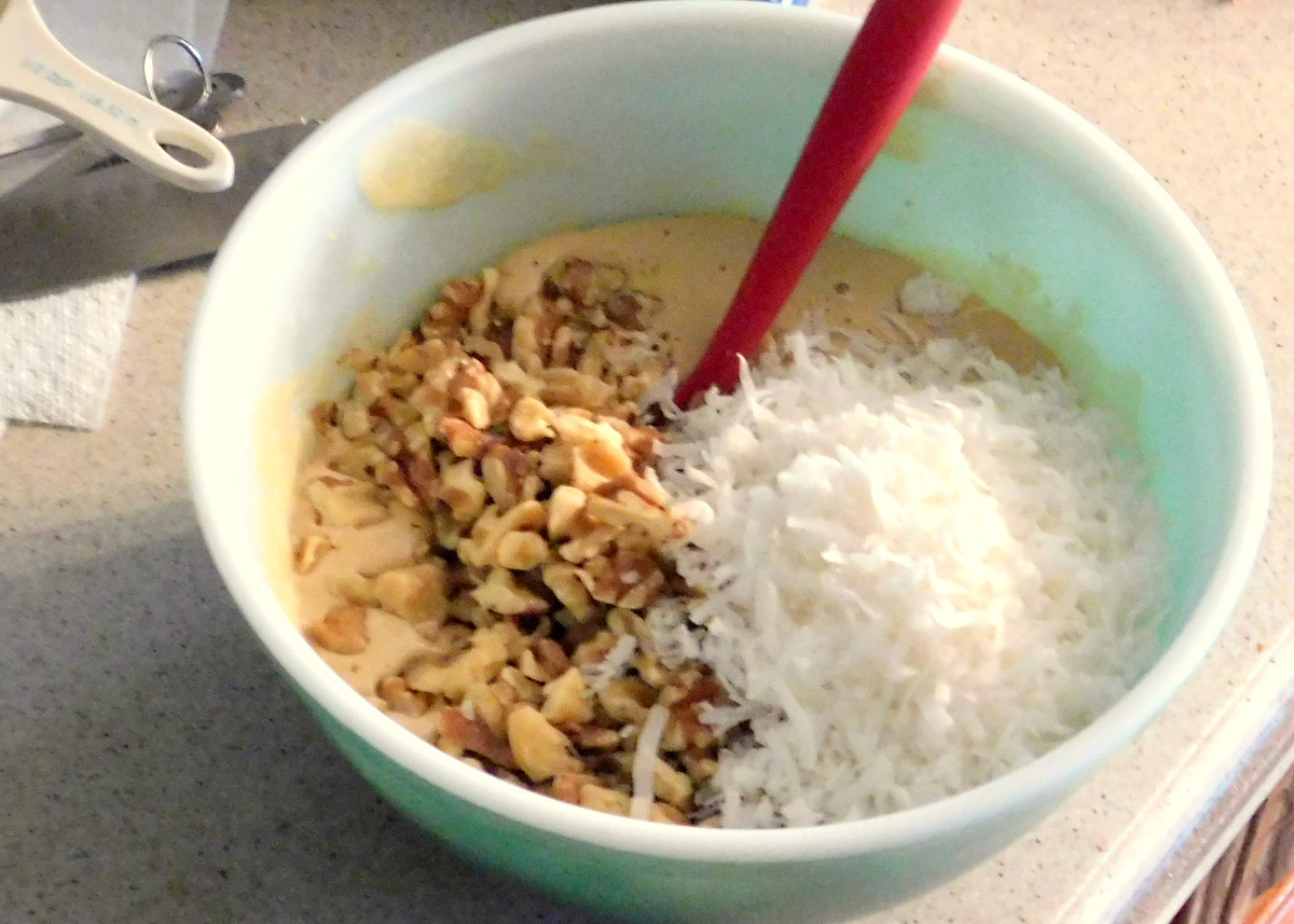 Coconut and nuts go in last