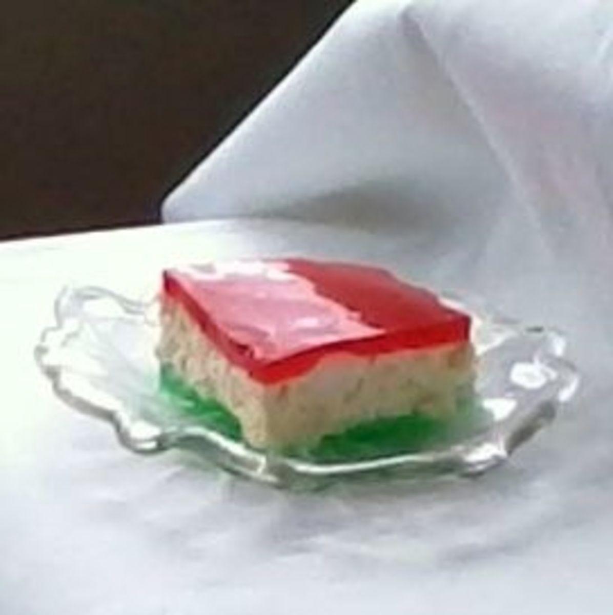 Ribbon salad serving on vintage glass plate