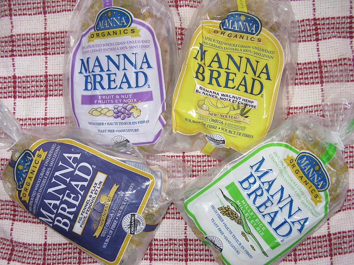 Four kinds of Manna Organics manna bread