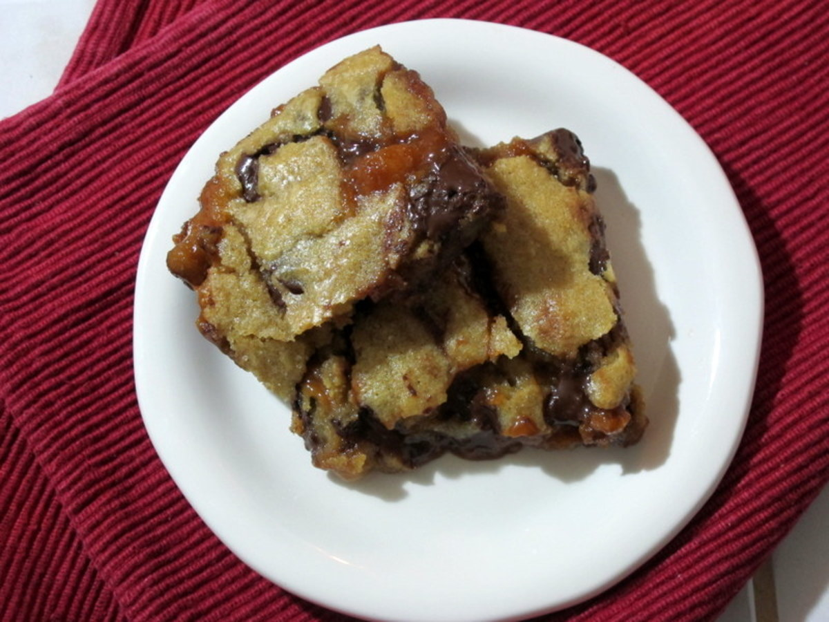 Chocolate Chip Blondies With Salted Caramel