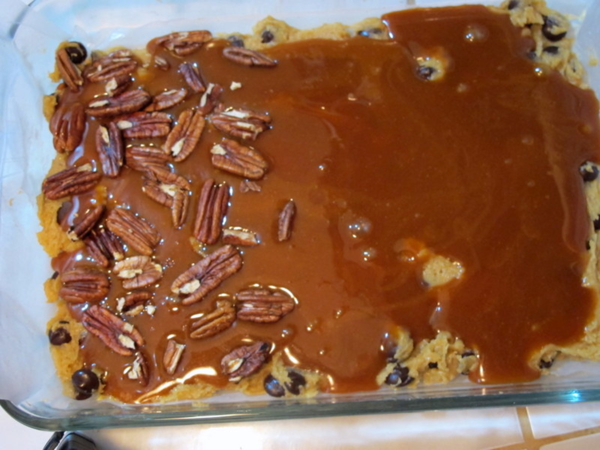 Blanket wth caramel sauce and pecans.