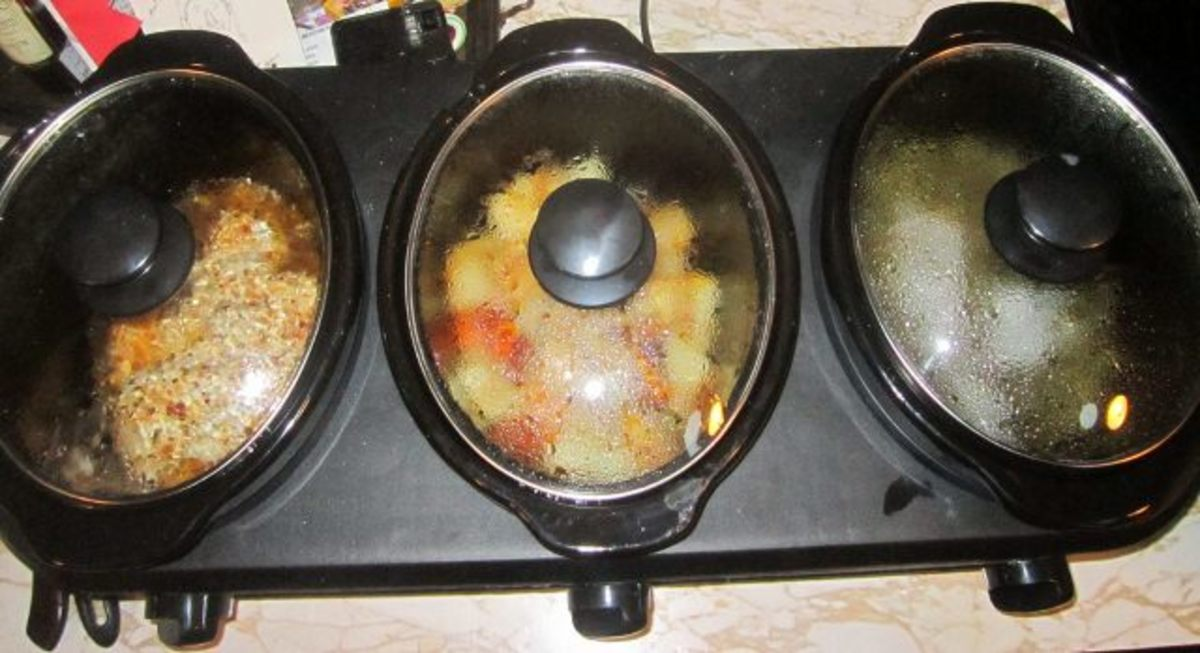 Three pots cooking, all steamed up!