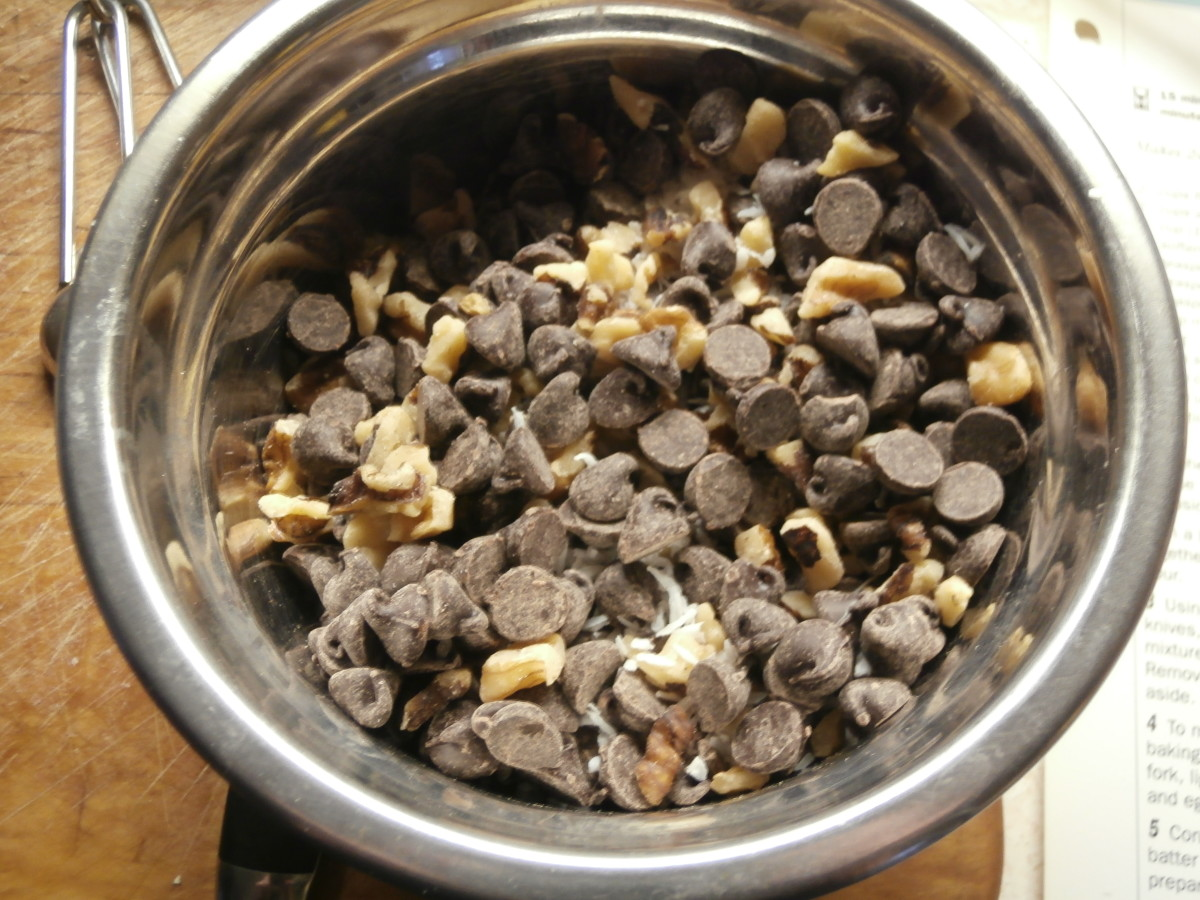 chocolate chips, walnuts and coconut
