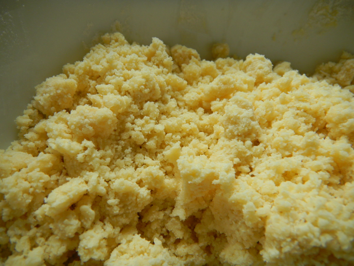 Mix together the dry ingredients and rub in with your fingers to make a breadcrumb texture.