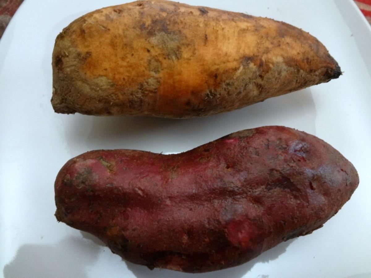 Orange and purple sweet potatoes