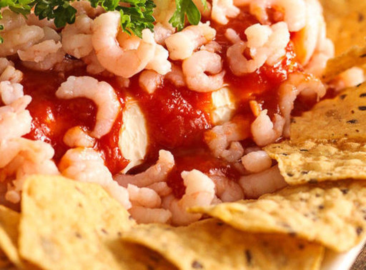 Tortilla chips and cocktail shrimp