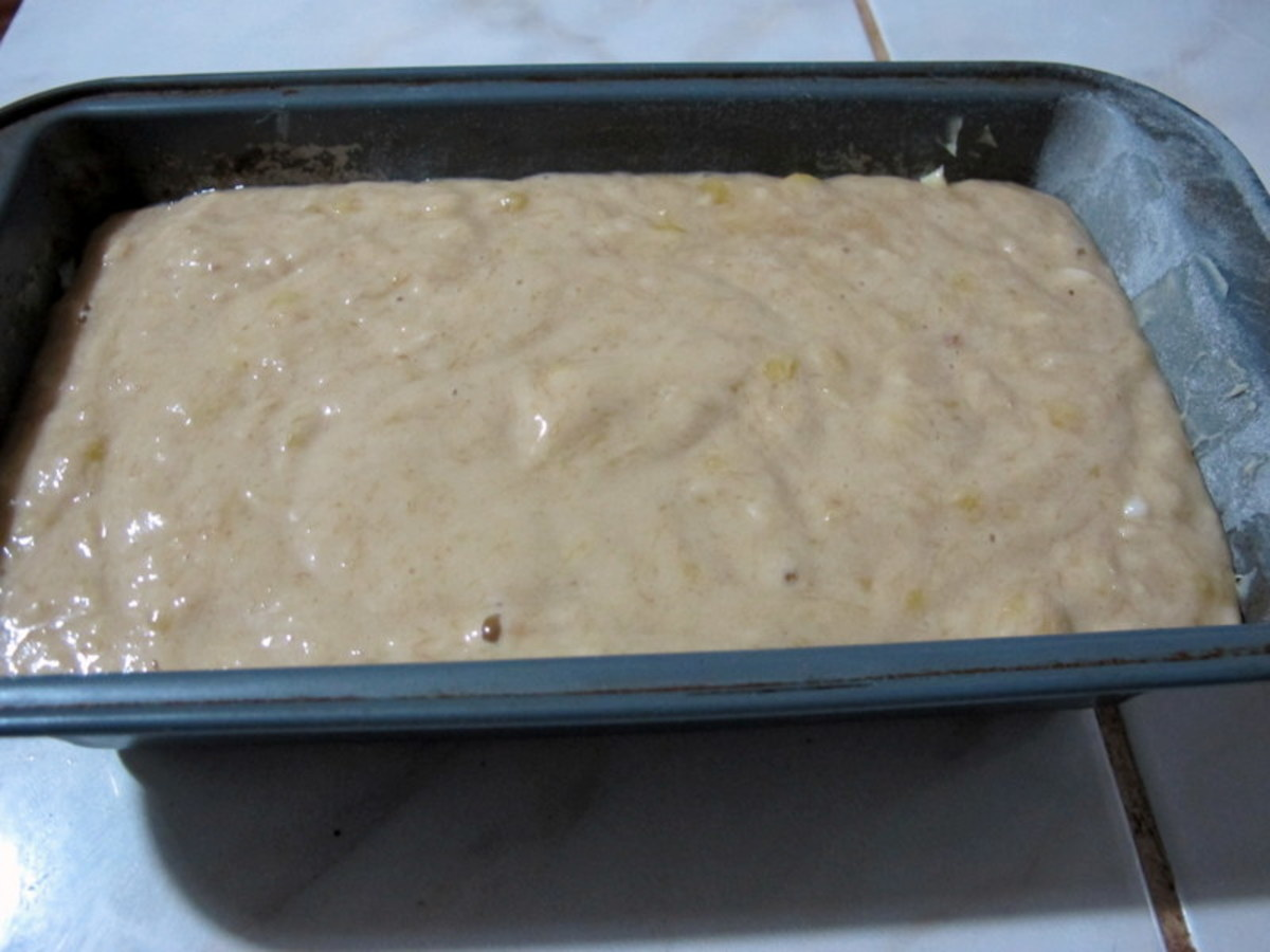 Pour into prepared loaf pan and bake