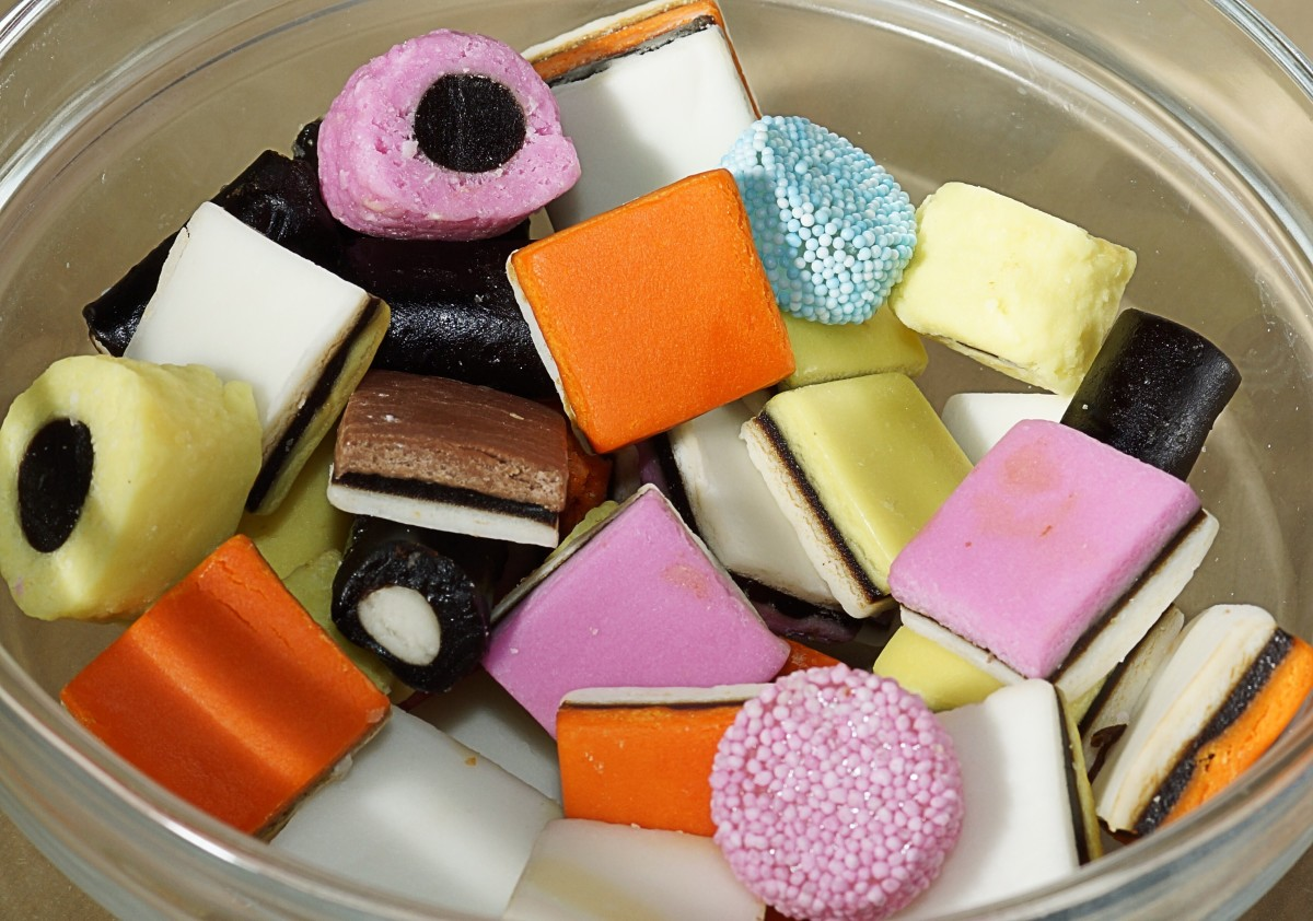 Liquorice allsorts in a bowl