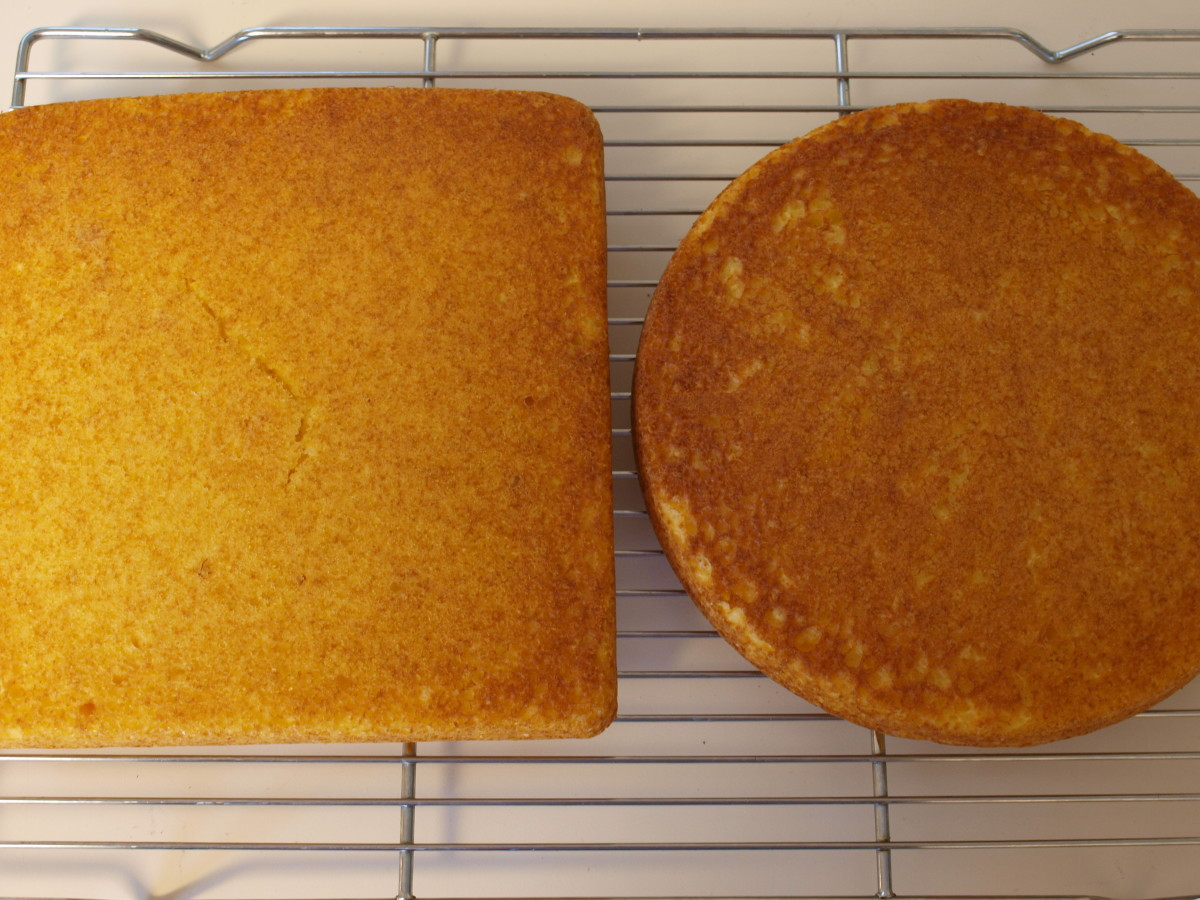 Follow recipe directions for baking.  Allow cakes to cool completely on a baking rack before cutting and frosting.