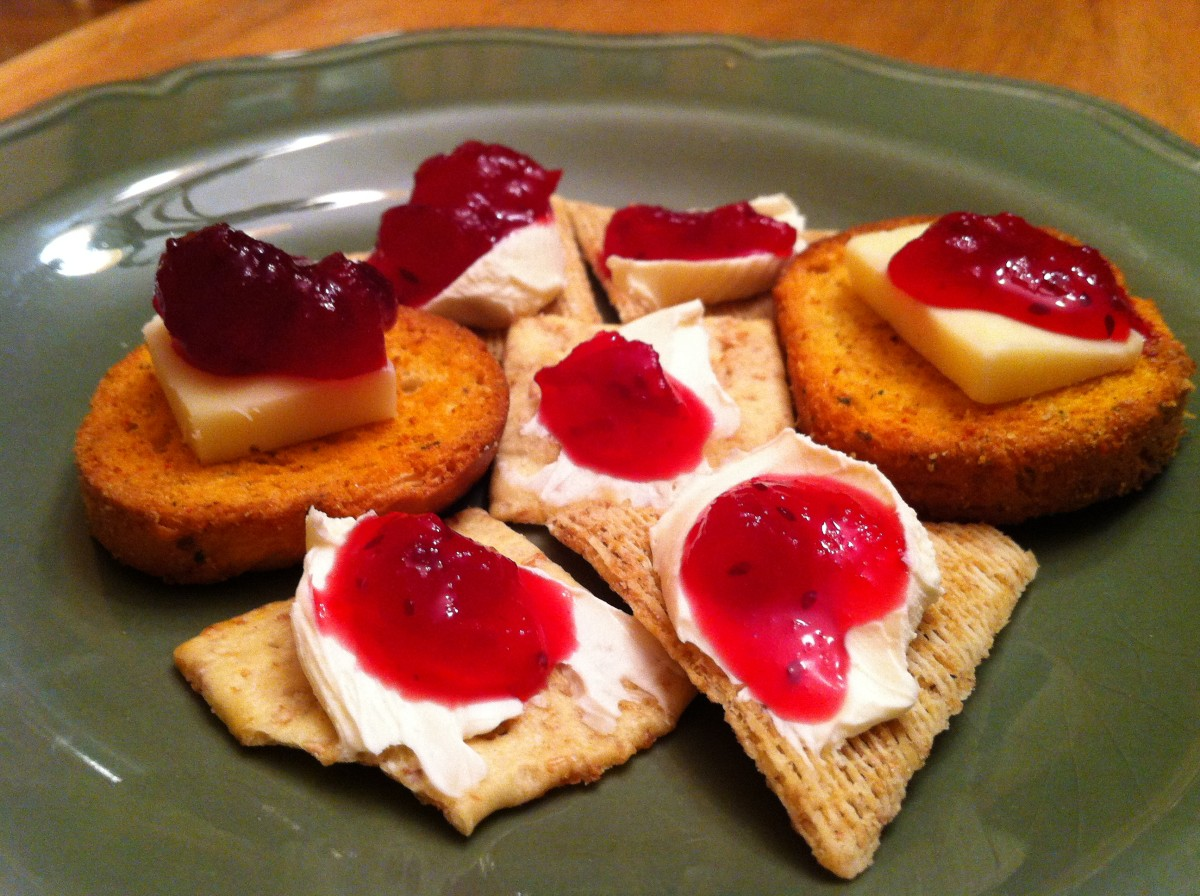 Cranberry sauce makes a tasty addition to cheese and crackers.
