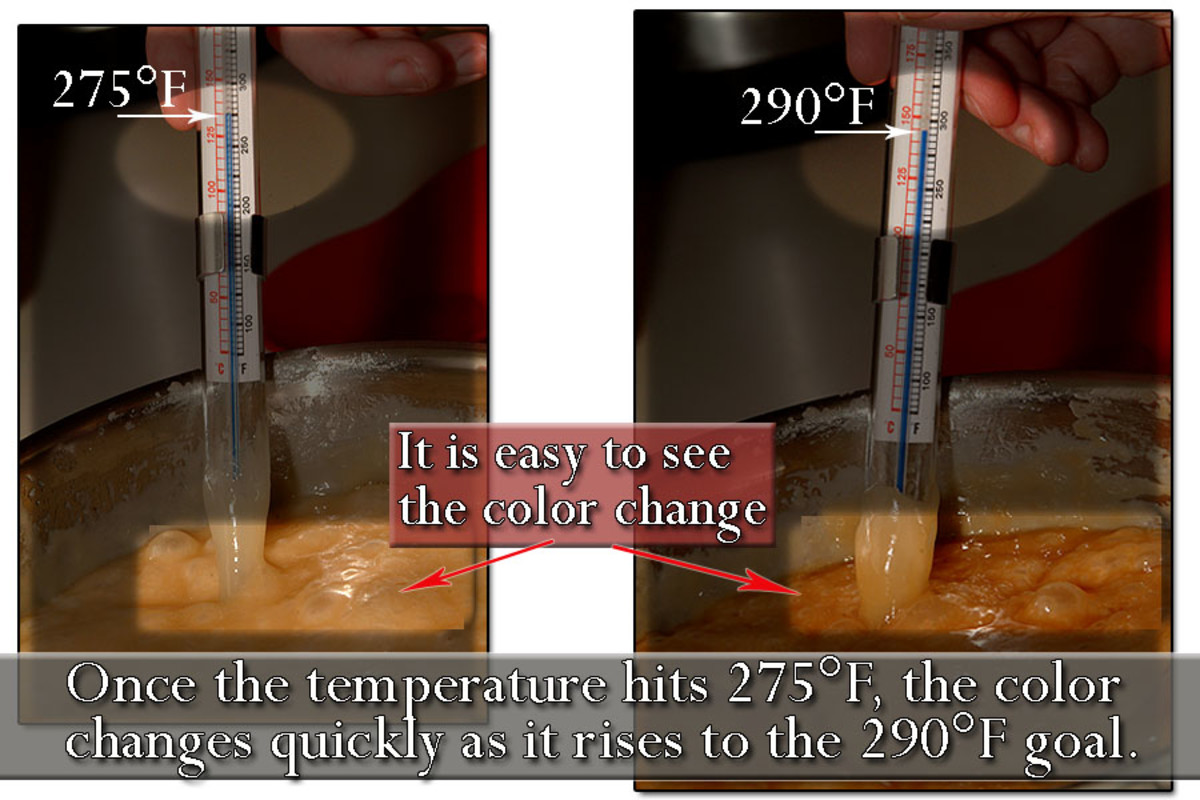 At 275°F the color will begin to change rapidly. When you just hit 290°F, remove from heat immediately.