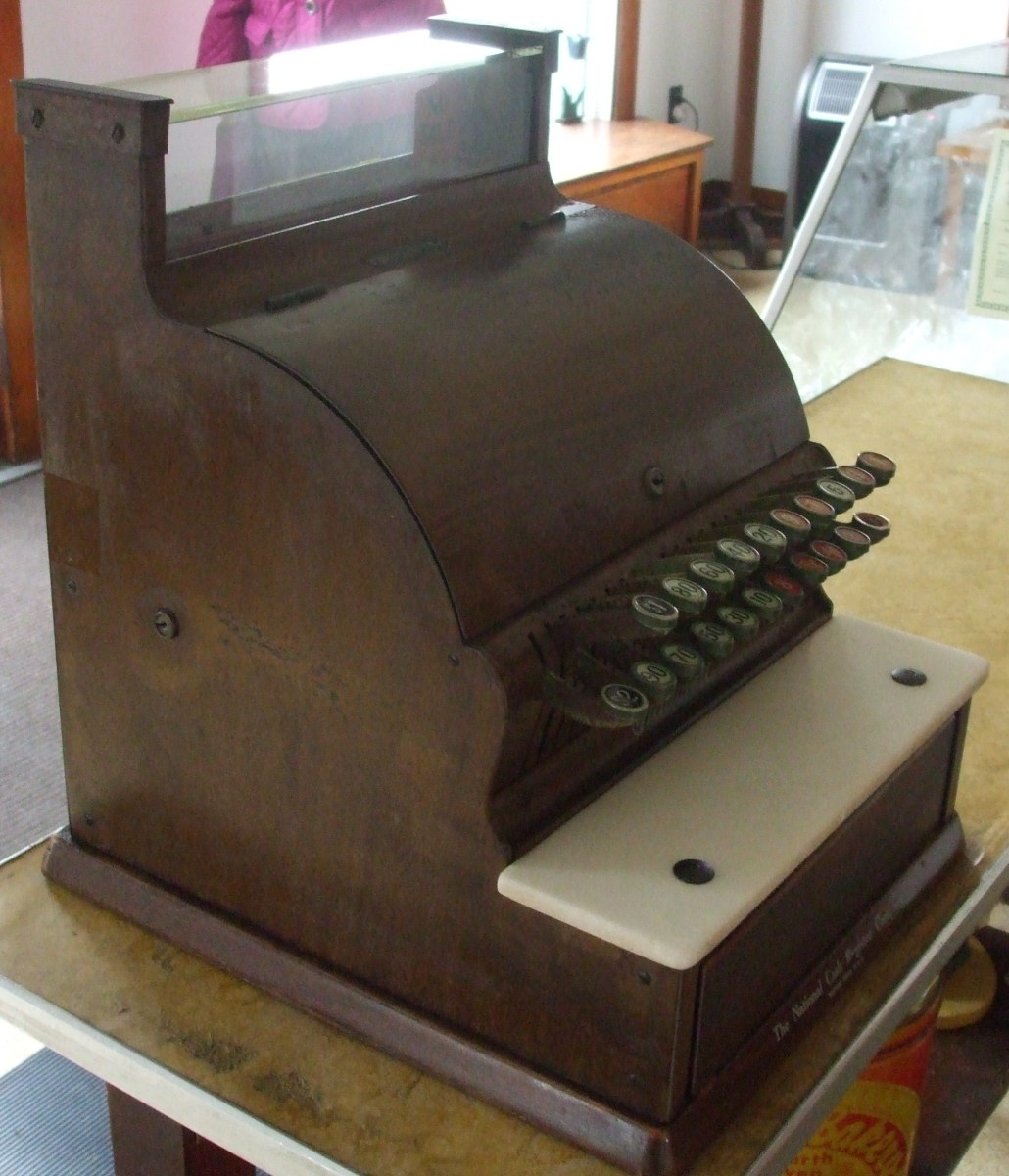 An old-fashioned wooden cash register which is in use at Shuey's Pretzels, Lebanon, PA.