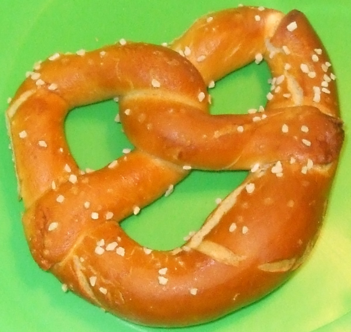 A single beautiful hard beer pretzel from Shuey's in Lebanon, PA.
