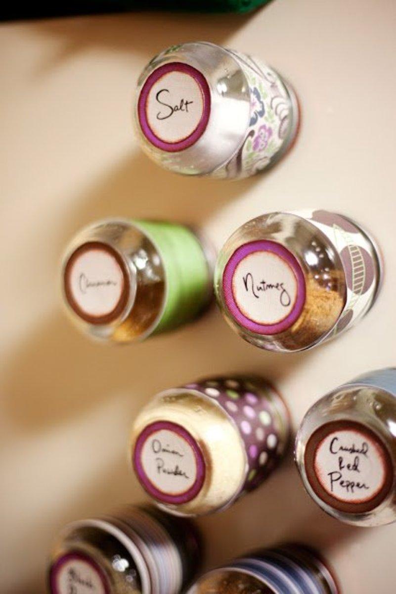Magnetized spice jars