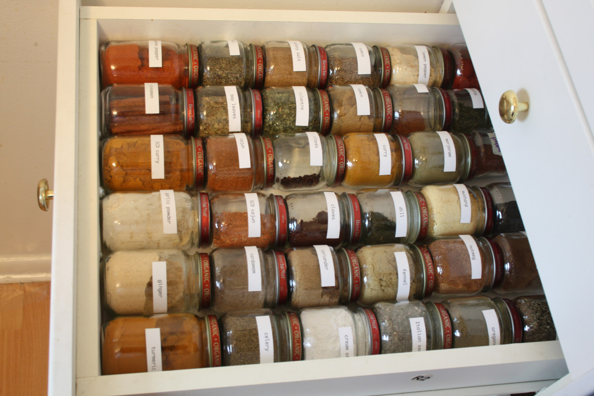 Baby food jars in a drawer