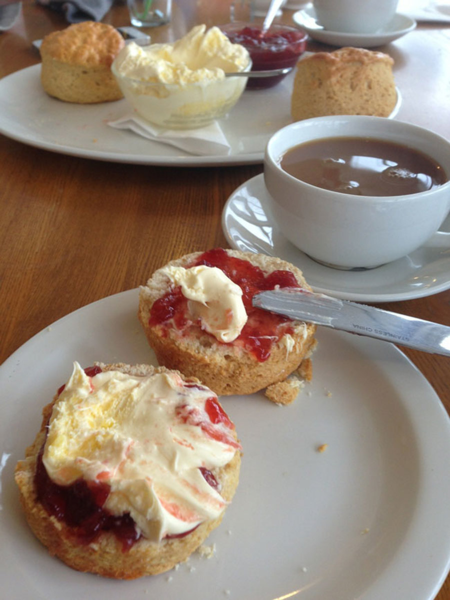 Traditional British scones with jam and clotted cream