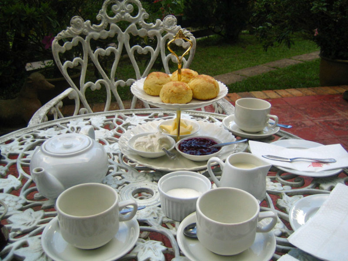 "An informal ""cream tea"" with scones, jam and clotted cream"