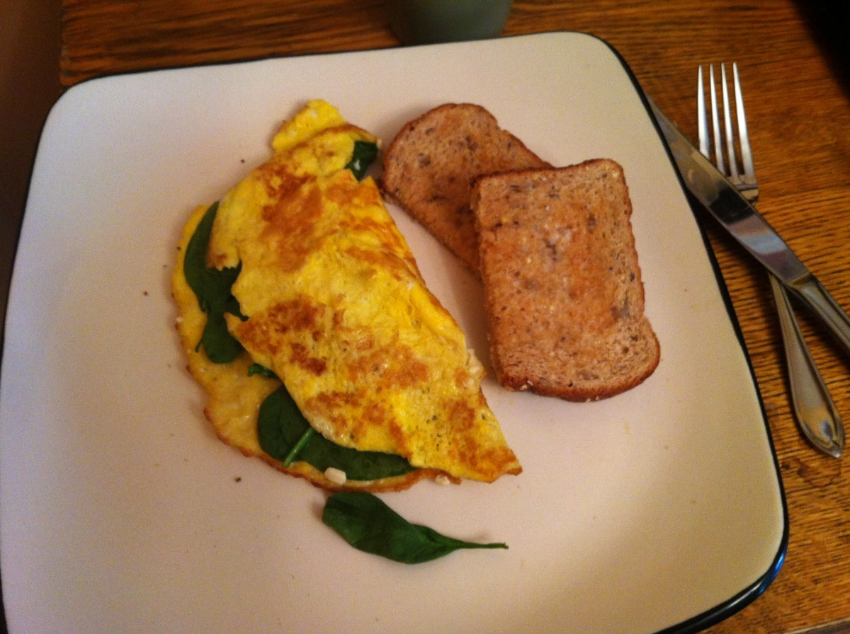 A baby spinach and feta omelette imakes a healthy and tasty breakfast or lunch.