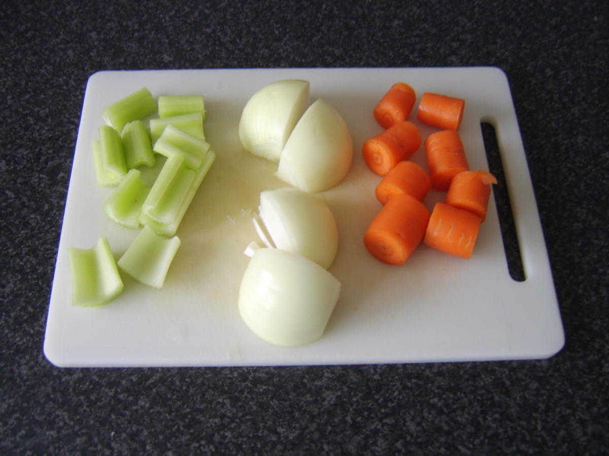 Chopped vegetables for ham stock