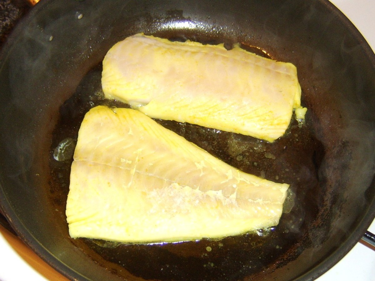 Pan frying haddock fillets