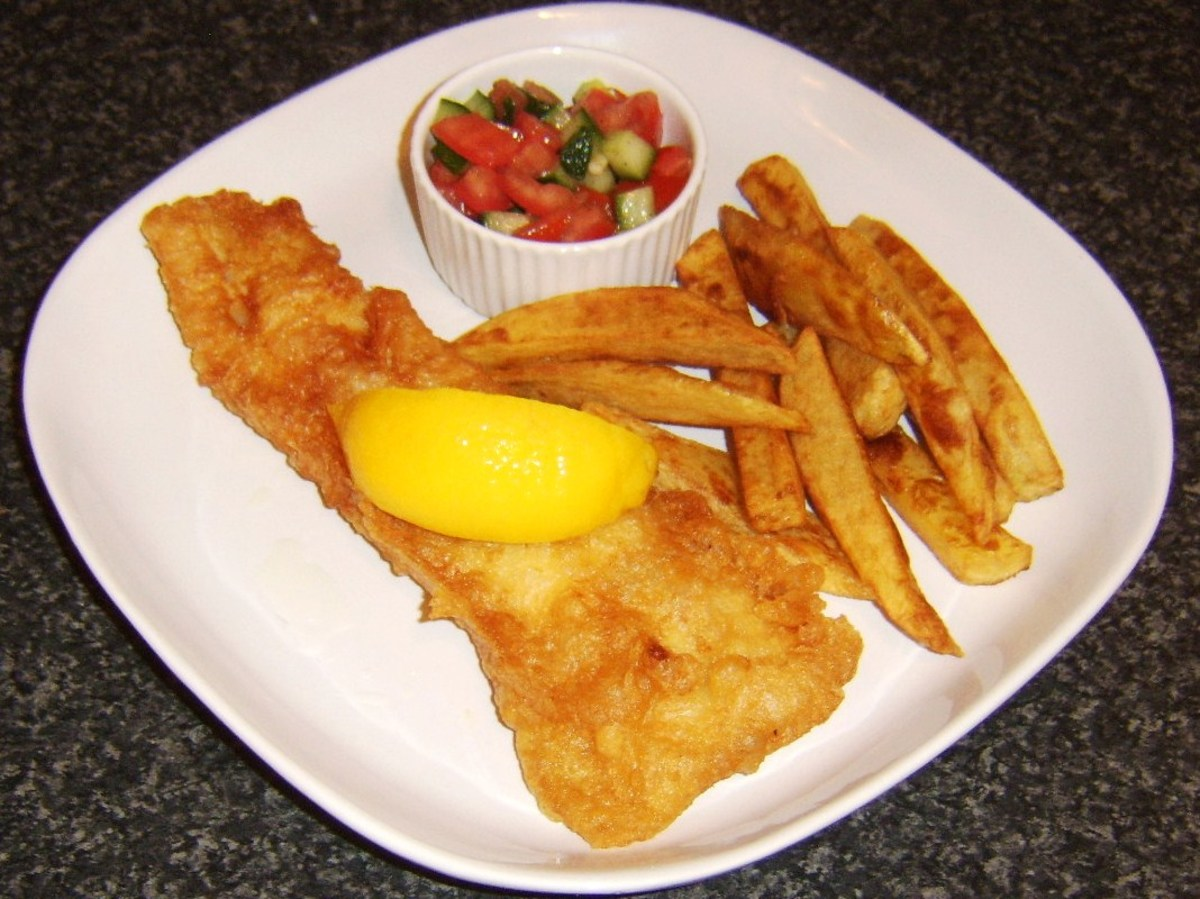 Haddock in a crispy beer batter with homemade chips and salsa