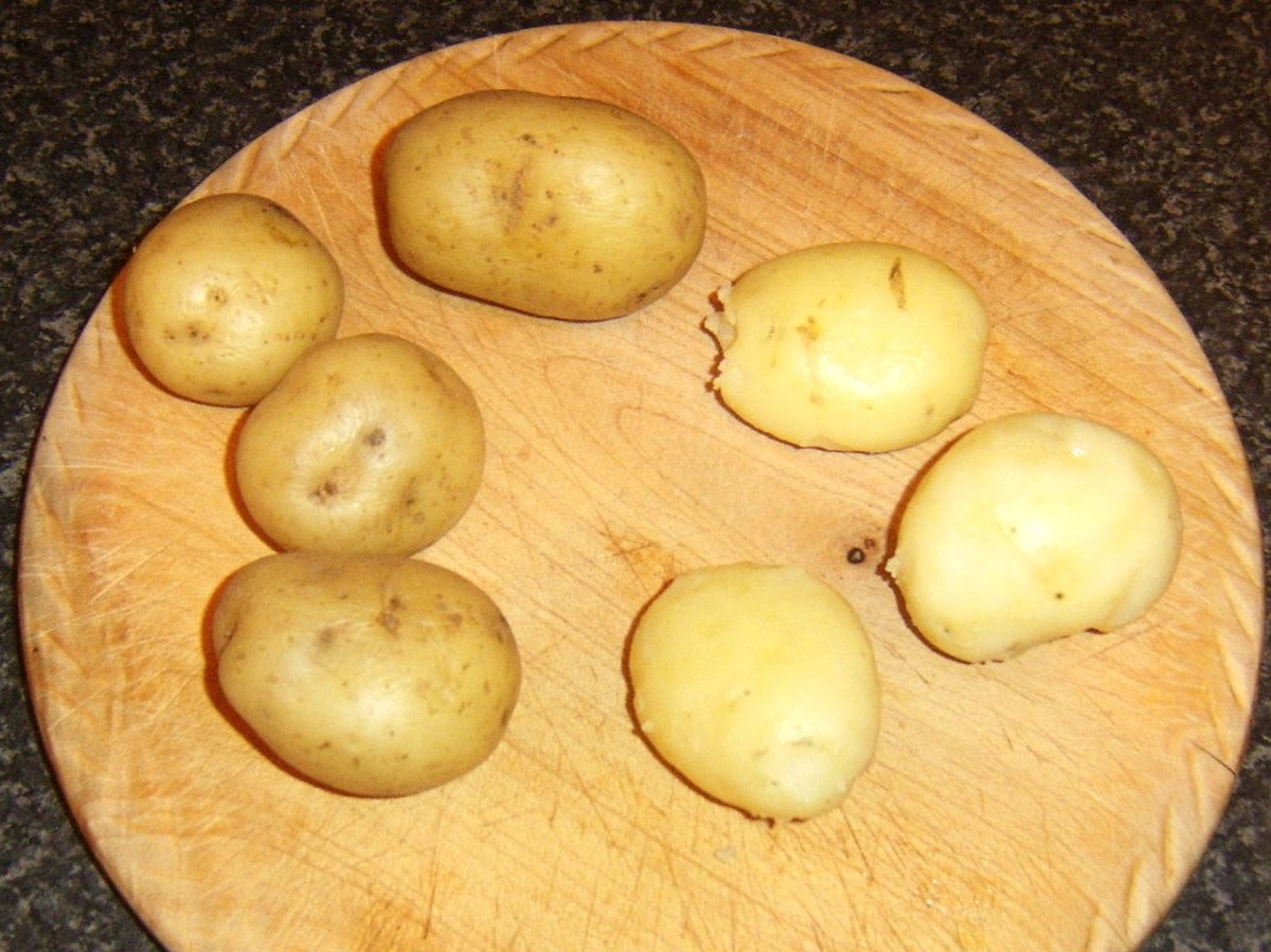 Cooled potatoes are carefully peeled