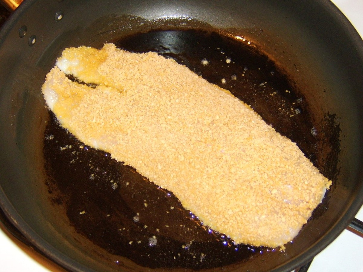 Pan frying breaded haddock fillet