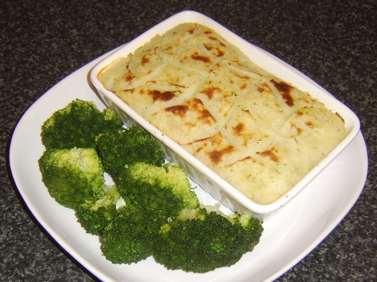 Quick and easy haddock fish pie is simply served with broccoli