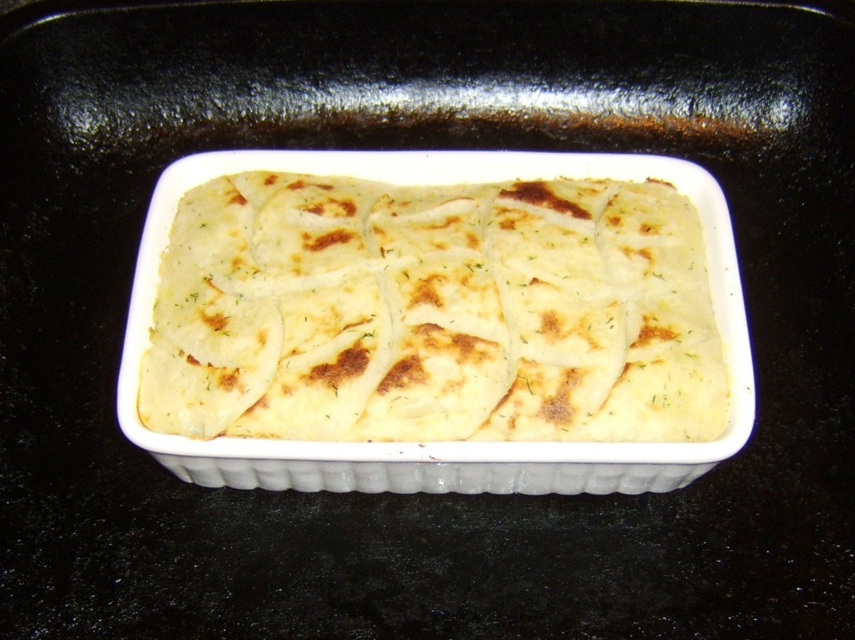 Fish pie removed from the oven