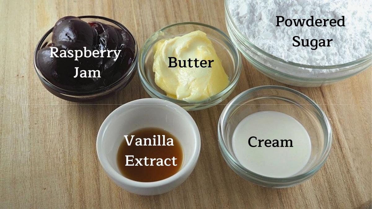 Ingredients for raspberry buttercream macaron filling