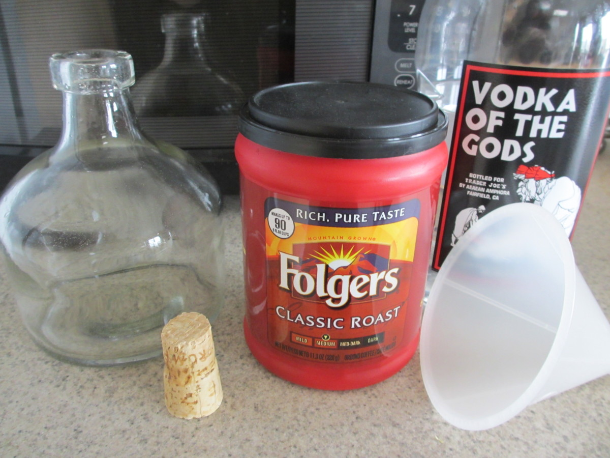Equipment and ingredients for making coffee-infused vodka.