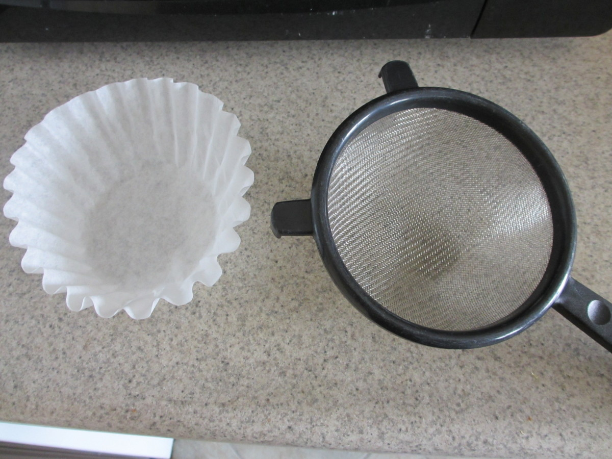 You'll need a wire colander and a coffee filter.