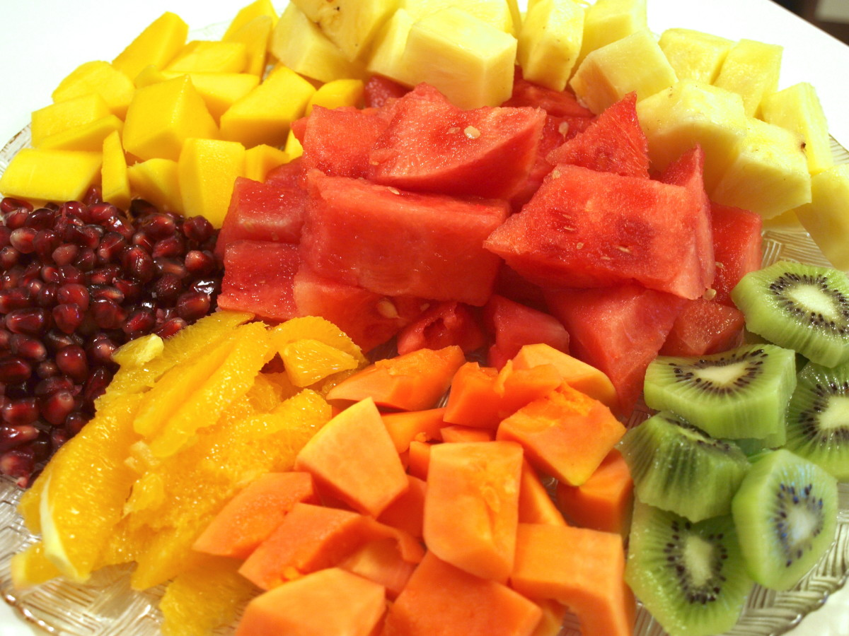 Chopped tropical fruits