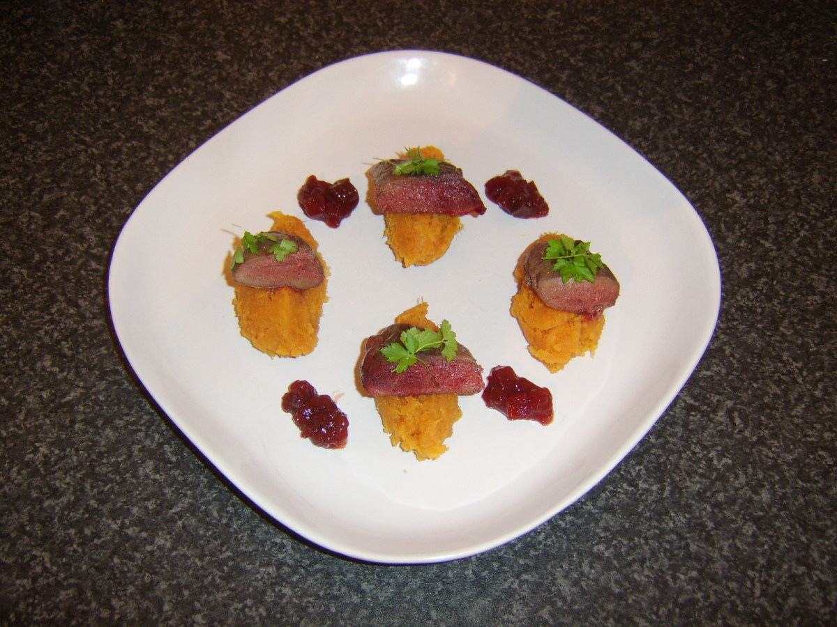 Pigeon breast halves are served on quenelle of sweet potato