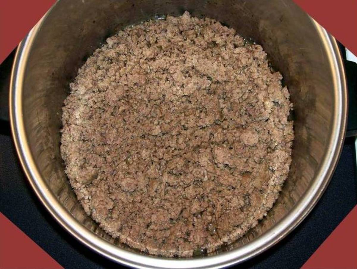 Brown 2 pounds ground beef.