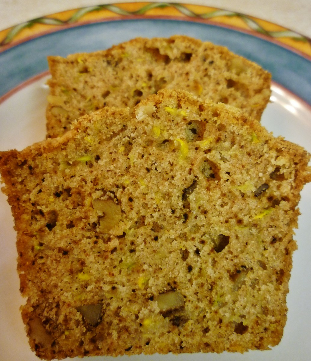 Slices of Delicious Yellow Squash & Walnut Bread