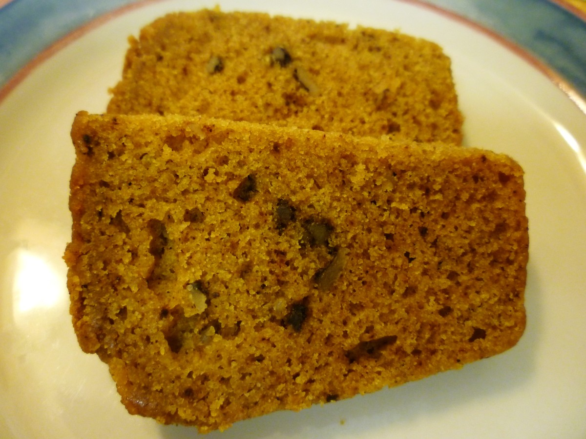 Pumpkin walnut bread sliced and ready to eat.