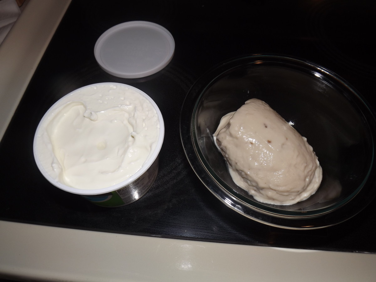 Cream of Mushroom soup and sour cream ready for mixing.