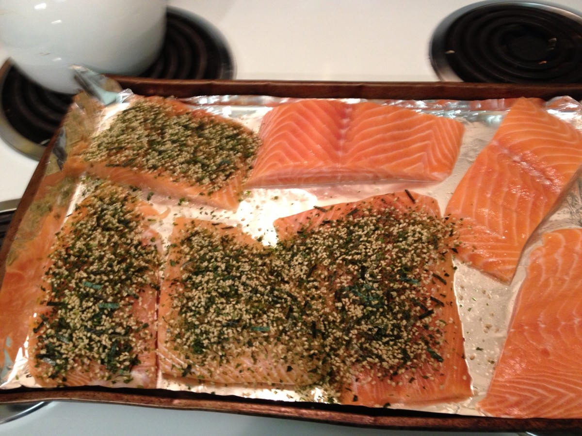 Furikake sprinkled onto salmon - if you have a long fillet, fit it onto a shallow pan and do the same.  You don't have to put it on so heavy like I did.