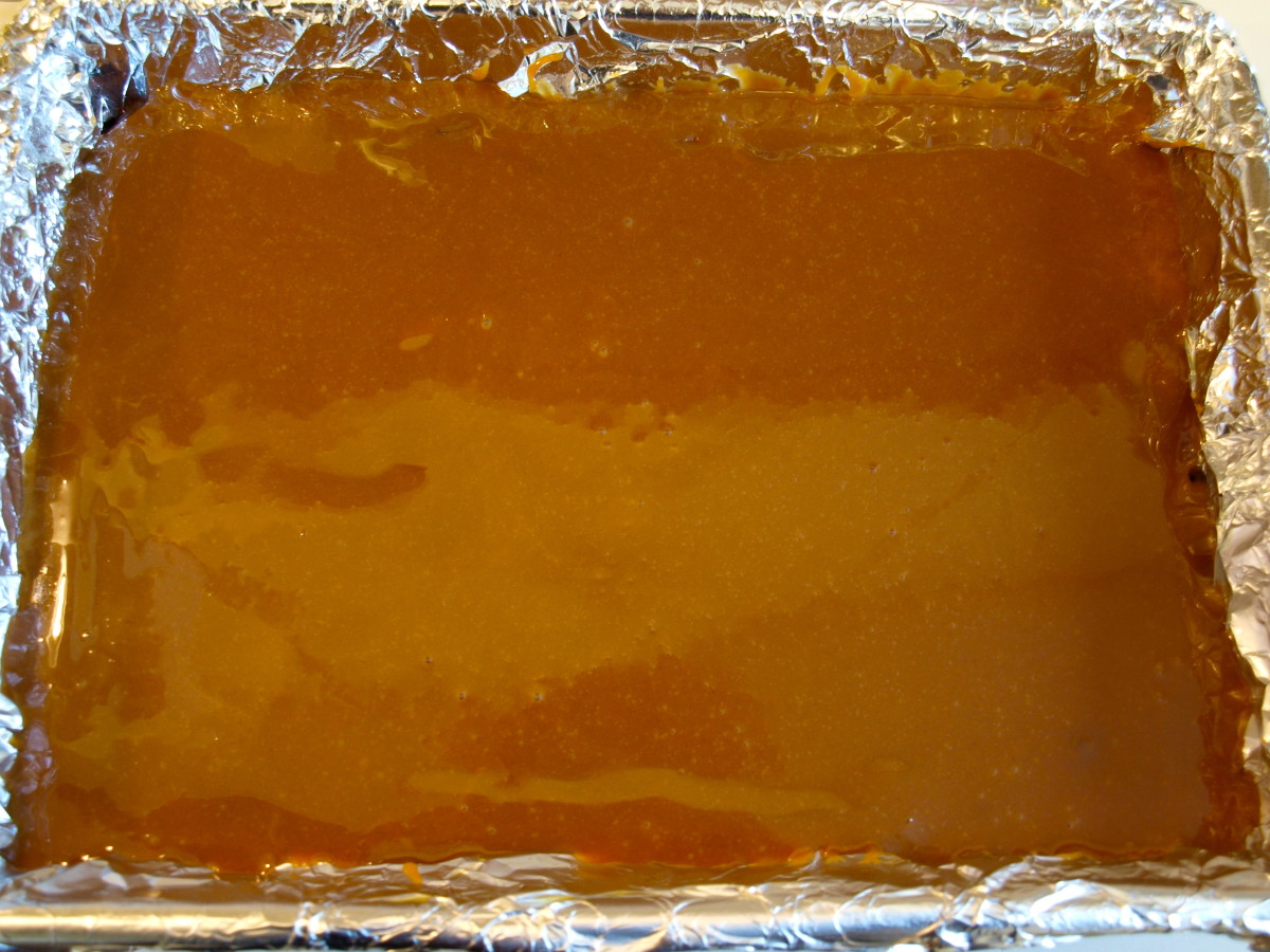 Caramel sauce poured over the baked brownies.