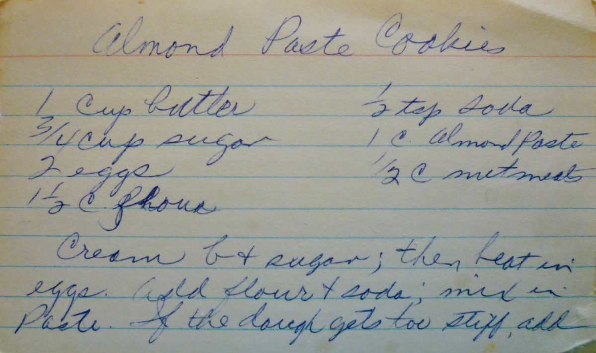 Handwritten recipe card from my mother-in-law.