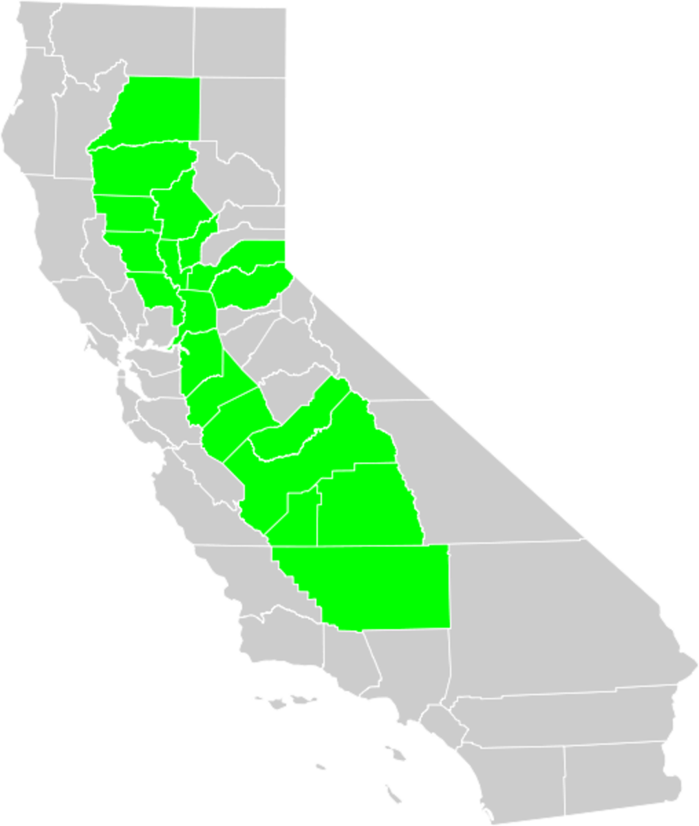 Central Valley of California (shown in green on California outline.)