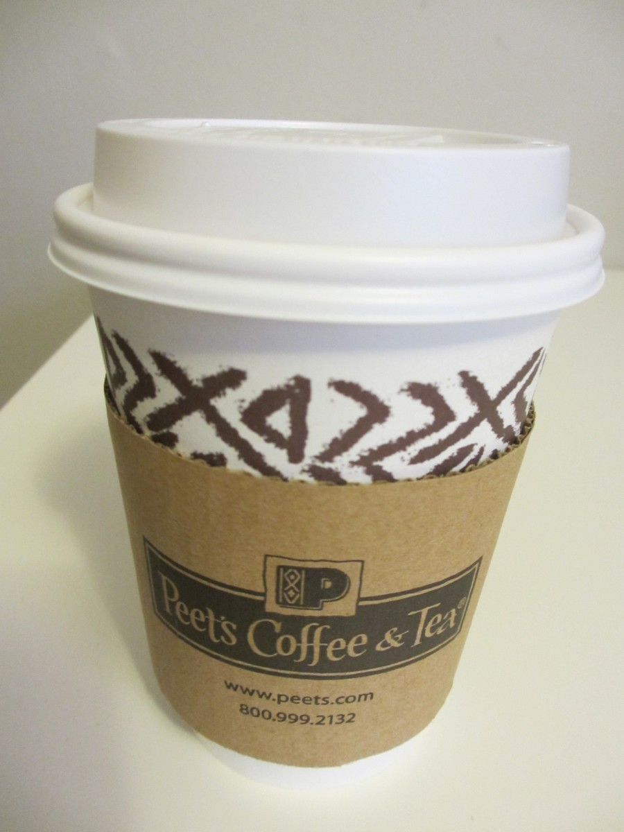 A small 12 oz. coffee from Peet's Coffee and Tea.